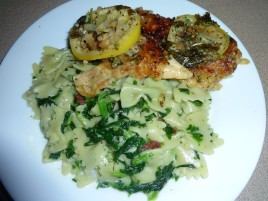 Chicken Francese W pasta in a spinach cream Sauce