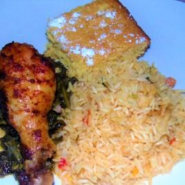 Creamy Lemon Chicken, rice & cornbreaad