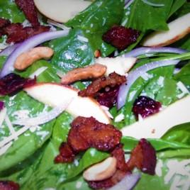 Apple Cashew Parmesan Spinach Salad