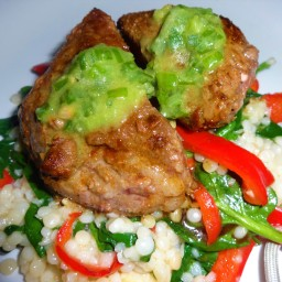 Spiced Steak with Scallion Chimichurri and Spinach Couscous