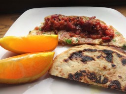 Sweet Potato Omlette and with homemade Naan ( Paleo)